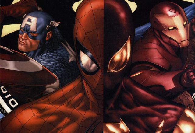 Капитан Америка, Железный Человек и Человек Паук