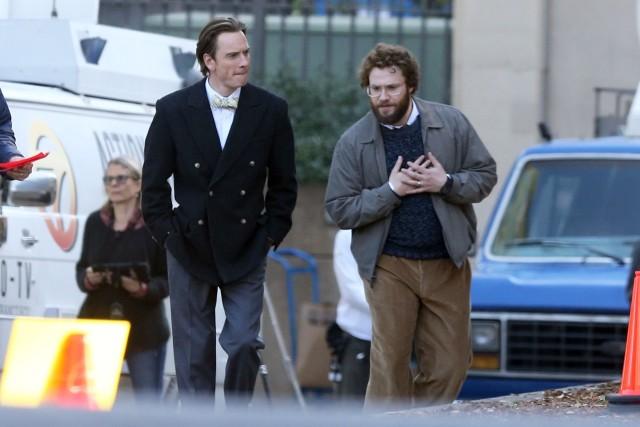 Фассбендер и Роген на съемках фильма «Стив Джобс»